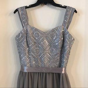 Long, gray sequence dress